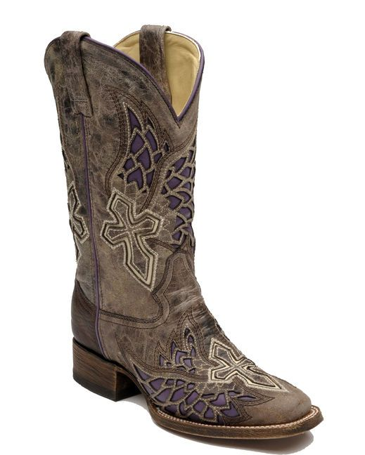 Corral Women's Brown/Purple Side Wing and Cross Square Toe Cowgirl Boot  http://www.countryoutfitter.com/products/36468-womens-brown-purple-side-wing-and-cross-square-toe-boot-a2646