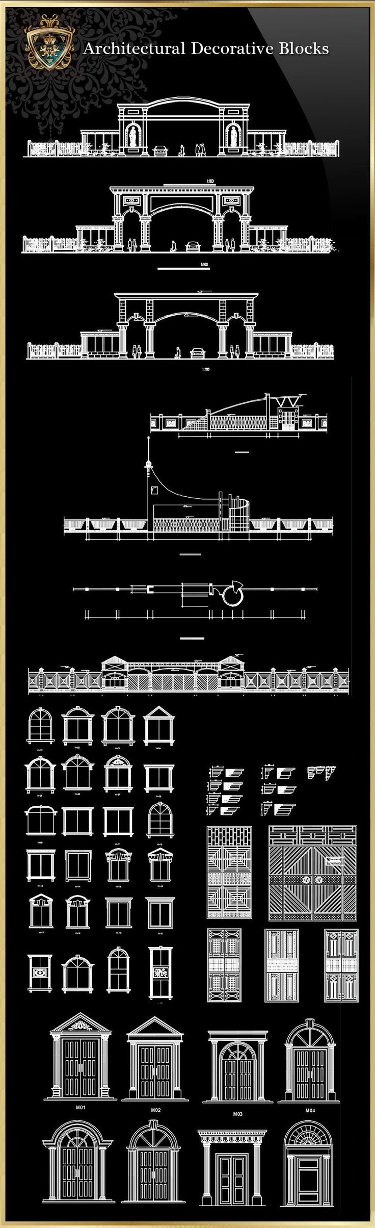 Architectural decorative blocks Ornamental Parts ,Balusters,Newels,Knuckles,Baskets,Wrought,Iron Rings  The .DWG files are compatible back to AutoCAD 2000. These AutoCAD drawings are available …