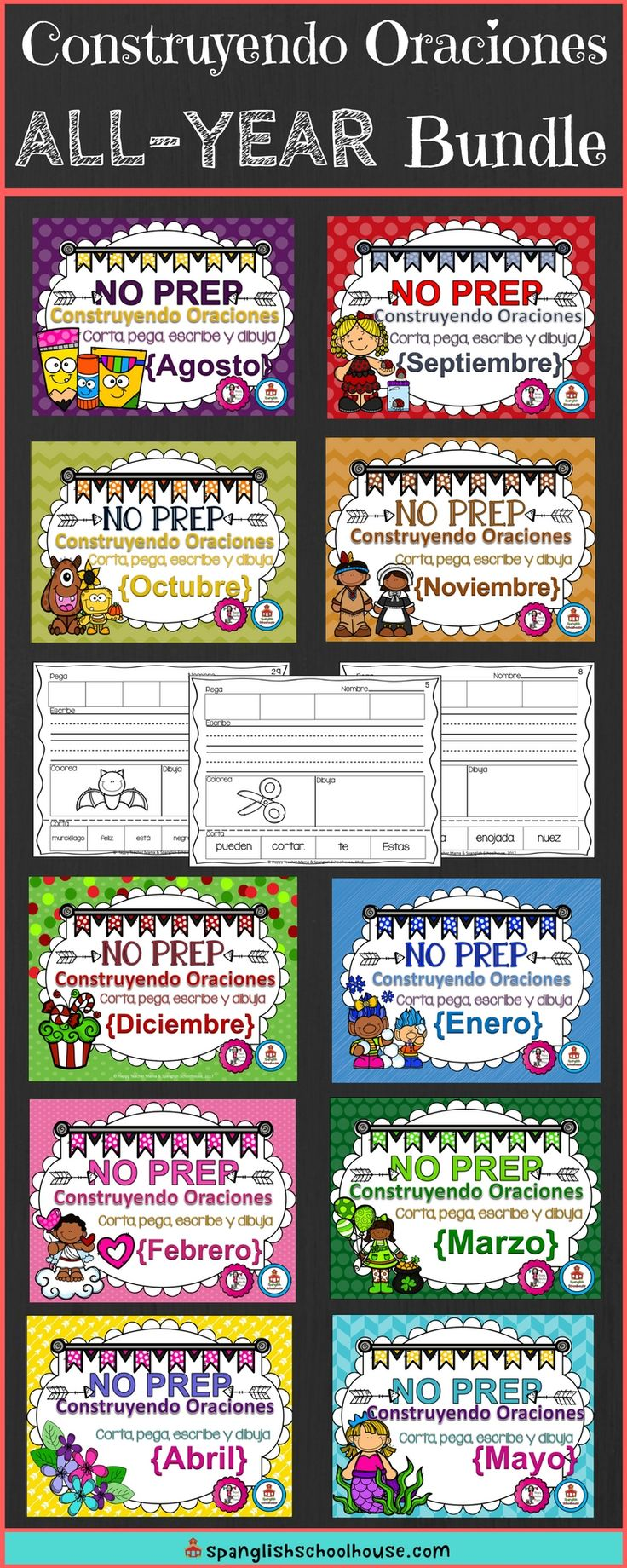 Do your Spanish students need help mastering sentences? This All-Year Sentence Building pack contains 10 months of cut and paste Spanish grammar practice. Over 300 pages perfect for you Kindergarten Spanish Immersion students!