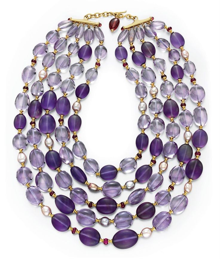 AN AMETHYST, RUBELLITE TOURMALINE AND CULTURED PEARL NECKLACE