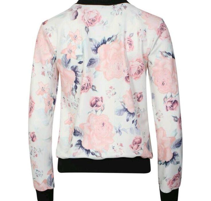 New Womens Long Sleeve Zip Up Flower Floral Print Ladies Bomber Jacket 8-14   eBay