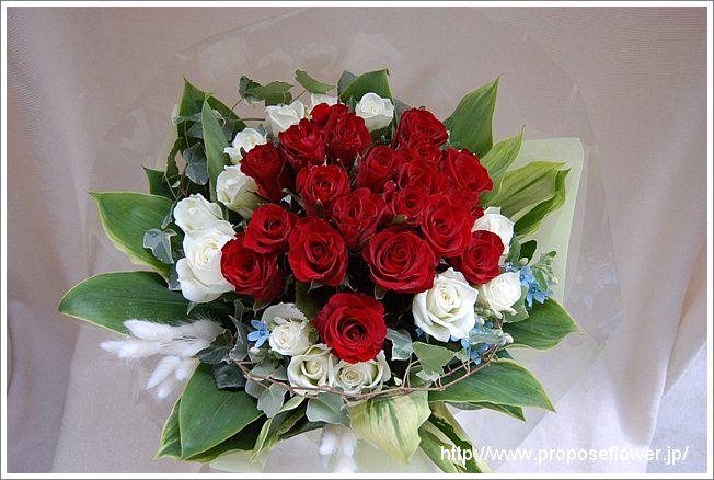 赤い薔薇と白い薔薇の花束 Rose bouquet