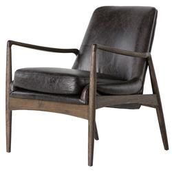 Olena Mid Century Black Leather Sculpted Cedar Armchair | Kathy Kuo Home