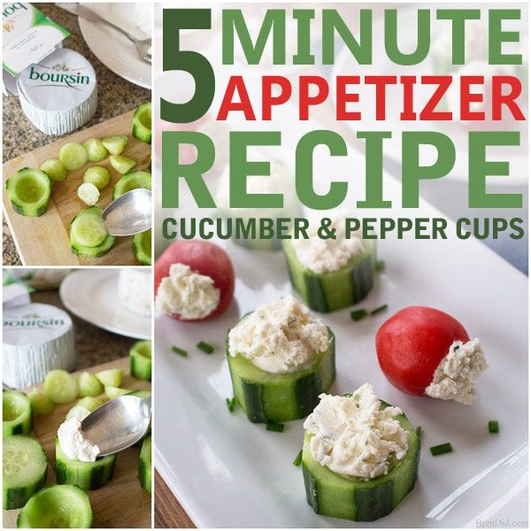 Looking for a quick and easy hors d'oeuvre? This 5 minute appetizer recipe for Cucumber and Pepper Cups pairs crisp vegetables with creamy cheese for the perfect bite!