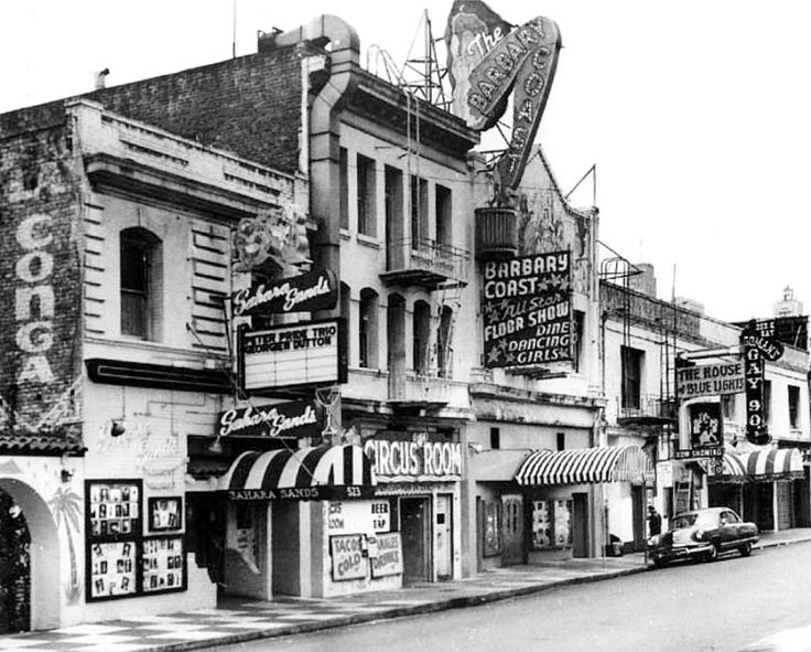 1950s Barbary Coast - photo shows the Barbary Coast and the clubs on either side of it, including House of Blue Lights, La Conga, Gay 90's, Sahara Sands, Circus Room