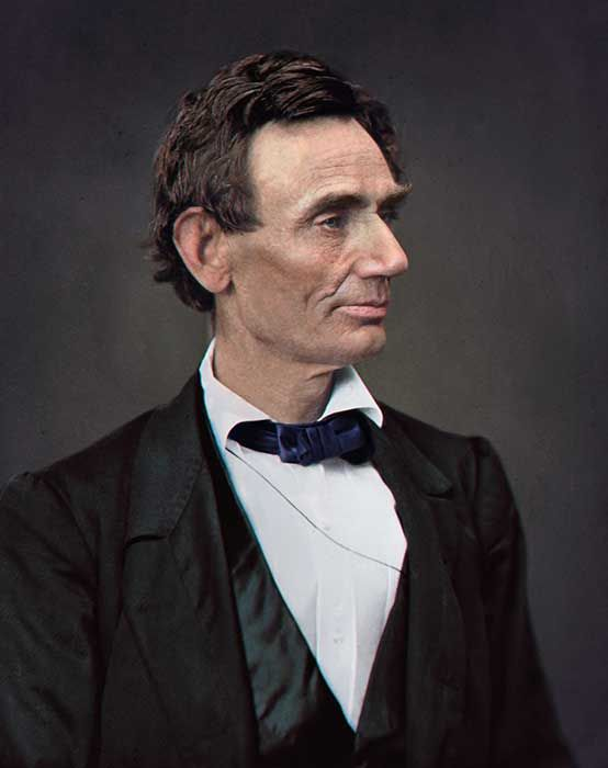 This portrait gives an up-close look at President Lincoln, and humanizes the tragedy of his death. Lincoln wore the same blue bow tie when he delivered the Gettysburg Address.