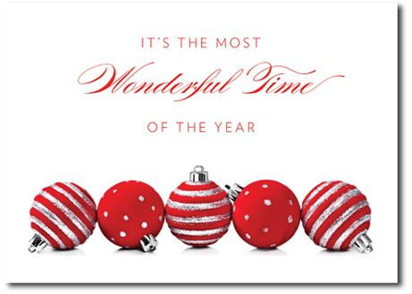 28 best holiday greeting cards images on pinterest holiday red and silver ornaments celebrate the most wonderful time of the year on this elegant holiday card m4hsunfo