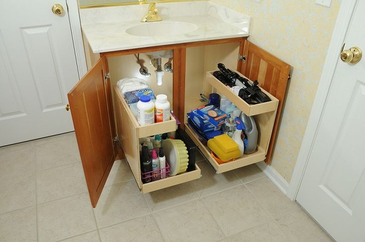 Best 25 slide out shelves ideas on pinterest kitchen - Bathroom vanity storage solutions ...