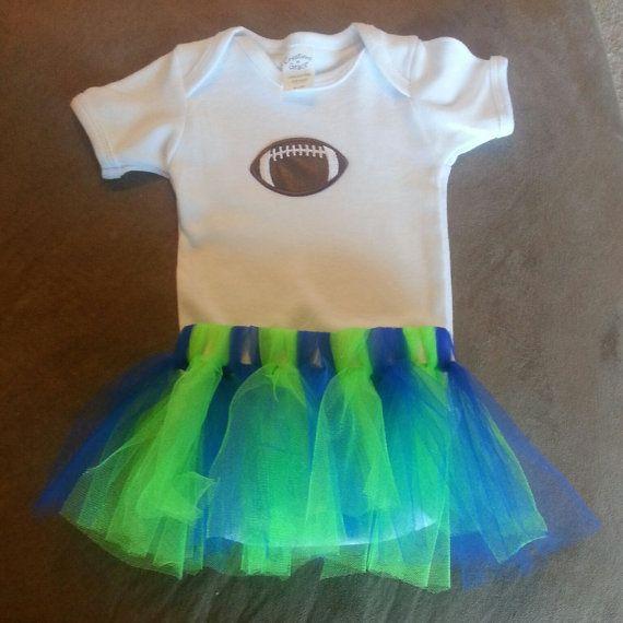 Seahawks Tutu with Football Onesie (3-6 months) via Etsy