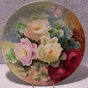 """SOLD Captivating Romantic Hand Painted Victorian Porcelain Rose Charger Plaque 13 1/2""""  ~"""