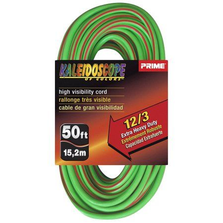 Prime Wire & Cable KC500541 50 Feet 12/3 Sjtw Kaleidoscope Extra Heavy Duty Outdoor Extension Cord with Prime Wire & Cable light Indicator Light, Lime Green and Red, 5 Pack