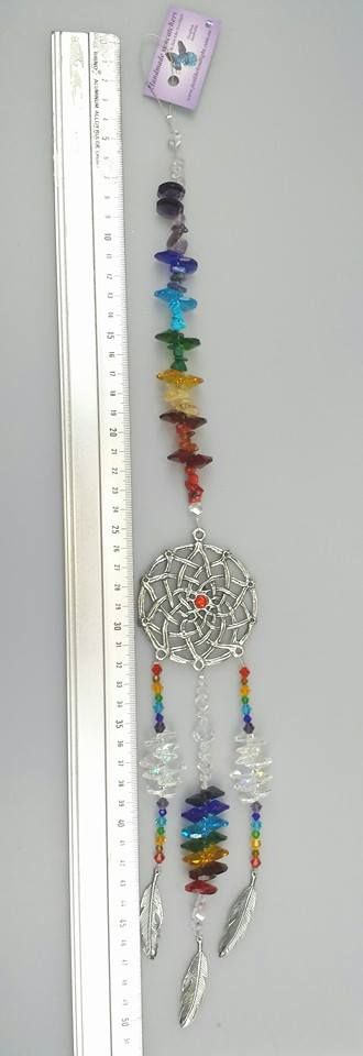extra large pewter dreamcatcher suncatcher chakra colours , crystal suncatchers by www.justlikeleadlight.com.au  see our facebook photos - https://www.facebook.com/justlikeleadlight/photos/a.835540473132426.1073741836.188668161152997/765623073457500/?type=3&theater