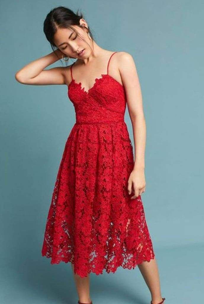 7f224b0e982c Forever Yours Red Lace Midi Dress in 2019