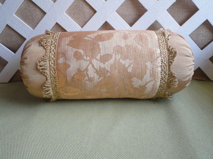 Antique Gold Bolster Pillow / Neck Roll Pillow / Gold Pillow / Leaf Pattern Pillow / & 14 best Neck roll pillow images on Pinterest | Cushions Bolster ... pillowsntoast.com