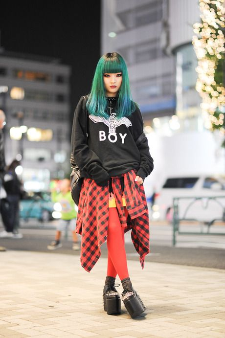 Japanese fashion :) green hair, wearing BOY London - beauty inspiration for GLOWLIKEAMOFO.com