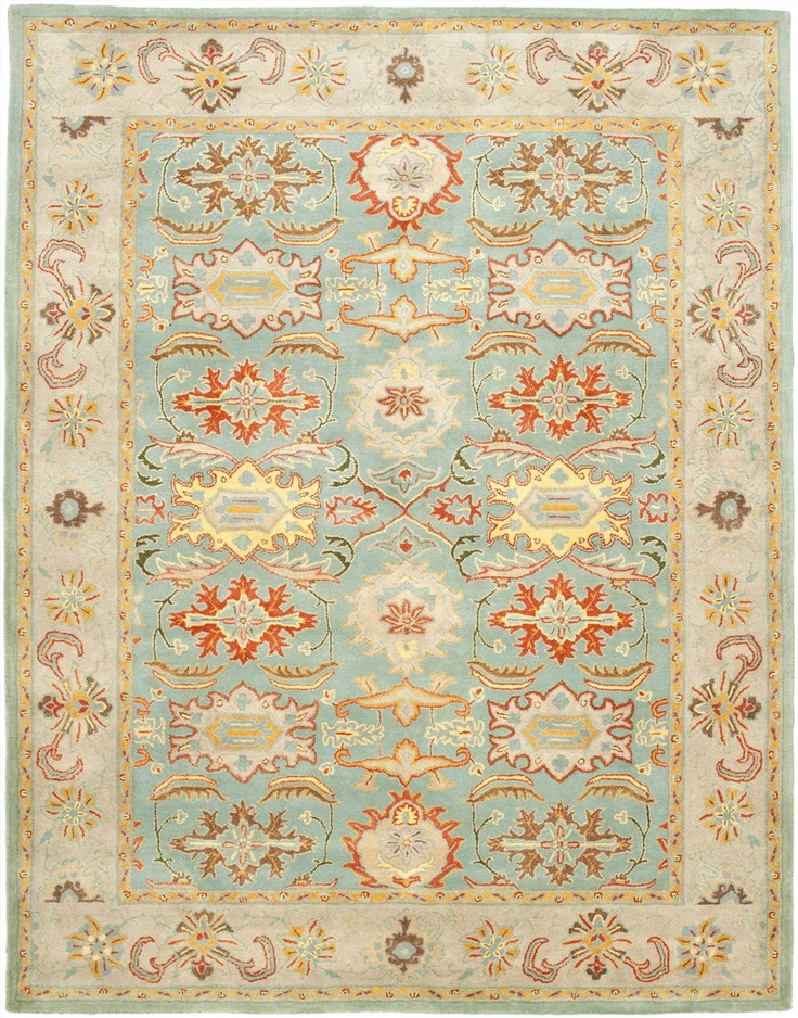 "$663  Best price I've found for this rug.  The turquoise could tie in the living room to the kitchen/breakfast colors.  9'6"" x 13'6"" Rectangular Safavieh Area Rug HG734A-10 Light Blue/Ivory Color Hand Tufted in India ""Heritage Collection"""