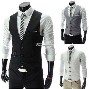 Neu-Herren-mode-Slim-Fit-Causal-Weste-mit-V-Ausschnitt-Anzug-Weste-Top-XS-S-M-L (Vintage Top My Style)