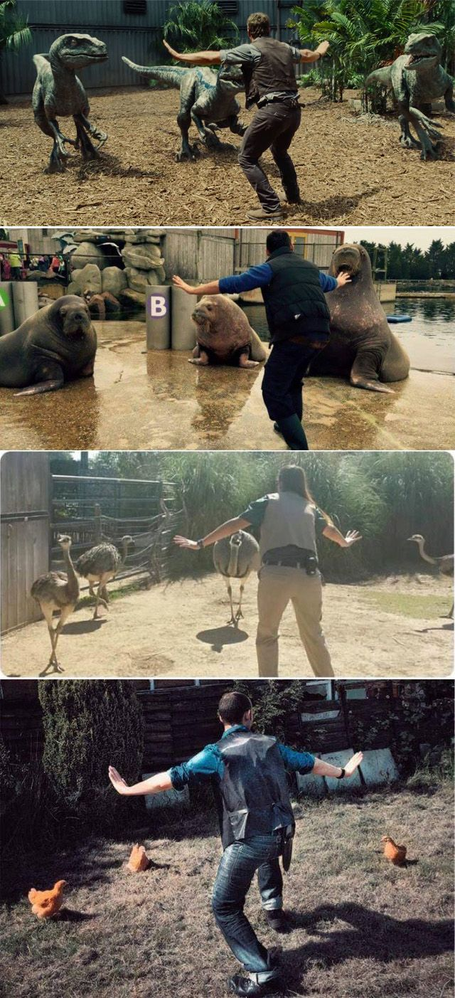 """Zookeepers are posing like Chris Pratt in """"Jurassic World"""" and it is EVERYTHING."""