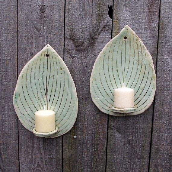 Handbuilt Hosta Leaf Clay/Pottery Wall Hanging Tall Candle Sconces/ Holders in Light Green Celadon, set of 2. $25.00, via Etsy.