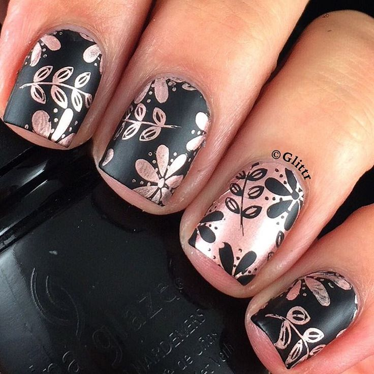 "Glittr on Instagram: ""Finally some nailart over here! Decided to do some stamping and am pretty happy with the result ☺️ _______________________________ @chinaglazeofficial • Liquid Leather @essiepolish • Penny Talk @opi_products • Matte Top Coat @moyou_london Pro plate no. 14"""