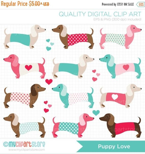 ON SALE  Valentines Day Dogs / Puppy Love / by MyClipArtStore
