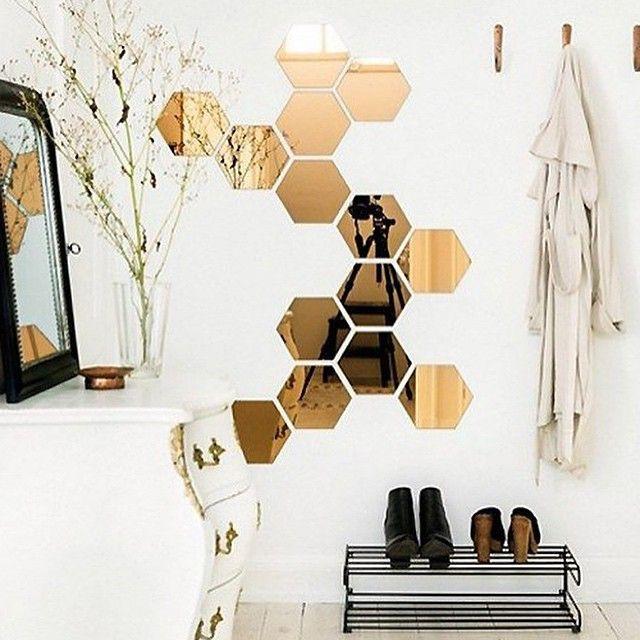 $15 hexagon wall mirrors - image via Fantastic Frank