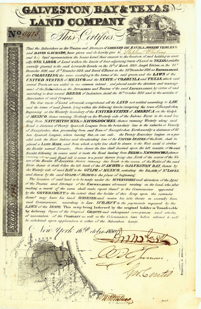 Galveston Bay & Texas Land Co., New York, Landzertifikat von 1830 + MUSEAL