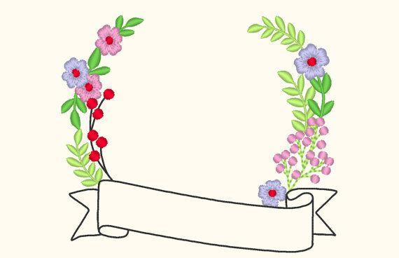 Einfach florale Monogramm Rahmen mit Banner INSTANT von artapli