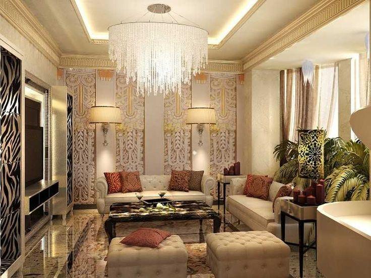 Люстра в стиле арт-деко в гостиной