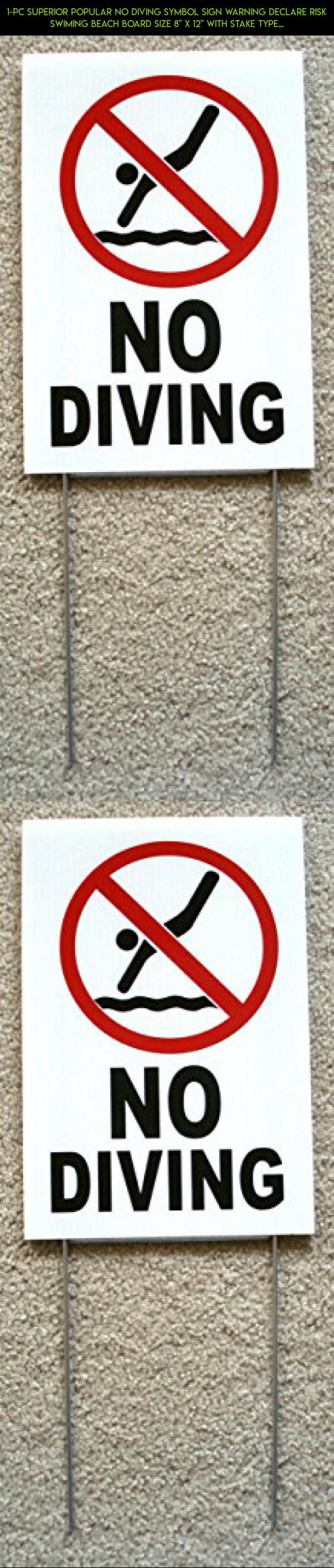 "1-Pc Superior Popular No Diving Symbol Sign Warning Declare Risk Swiming Beach Board Size 8"" x 12"" with Stake Type White #kit #shopping #sign #room #tech #camera #plans #products #gadgets #storage #drone #racing #fpv #technology #parts"