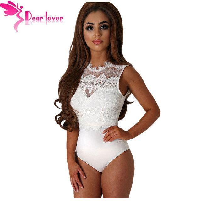 Dear-Lover Bodysuit Women Black Lace High Neck Cut Out Back Bodycon Romper/Shorts Playsuits LC32050