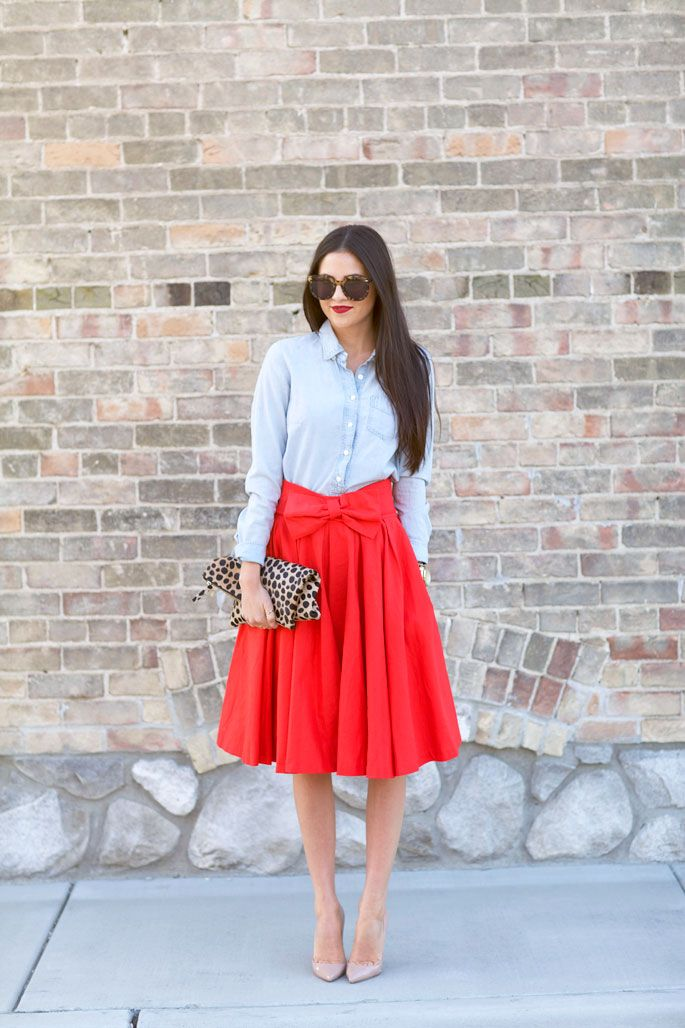 Red midi skirt and chambray...