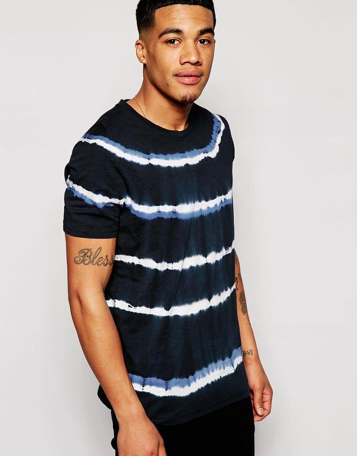 Imagen 1 de Camiseta holgada con rayas y efecto desteñido de ASOS