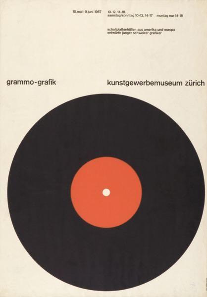 Grammo-Grafik - Kunstgewerbemuseum Zürich - Schallplattenhüllen aus Amerika und Europa - Entwürfe junger Schweizer Grafiker-Plakat