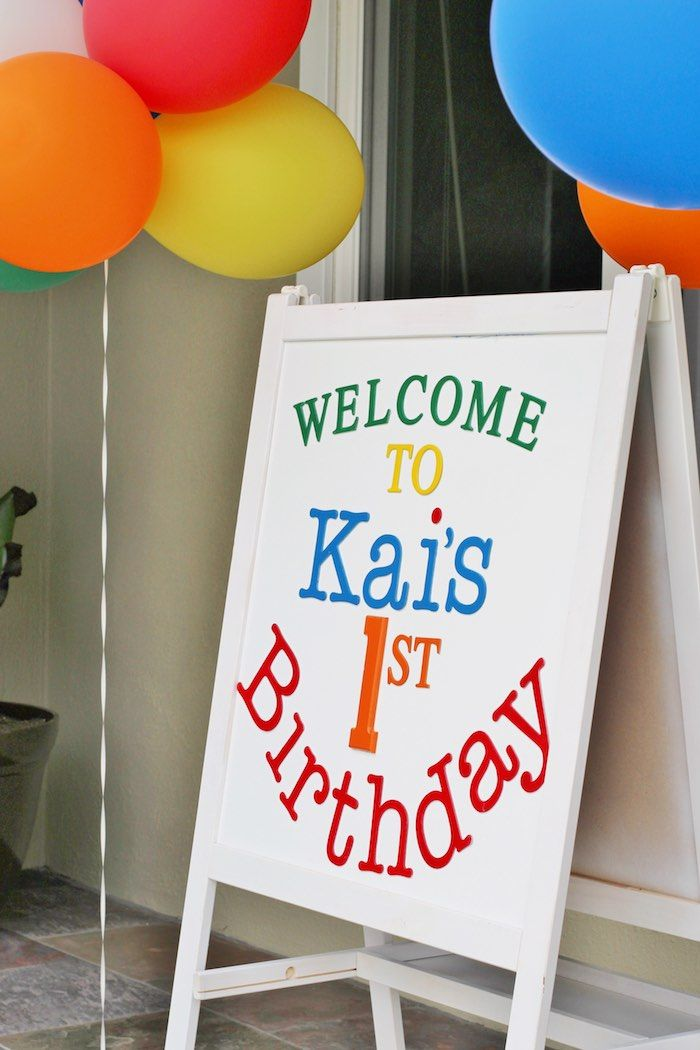 Welcome Sign from a Primary Color Ball Birthday Party via Kara's Party Ideas KarasPartyIdeas.com (6)