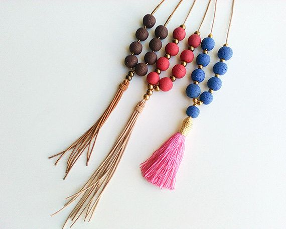 Long tassel leather necklaces Bohemian tribal by myTotalHandMade