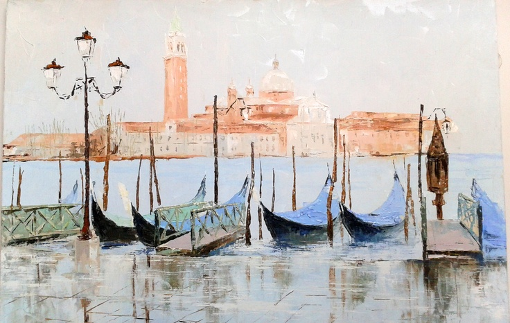 "Painting ""Venetian Port""  Size 40x60 cm  $199  #painting #art # design #venice #picture #water #summer #gondola #olio #nature"