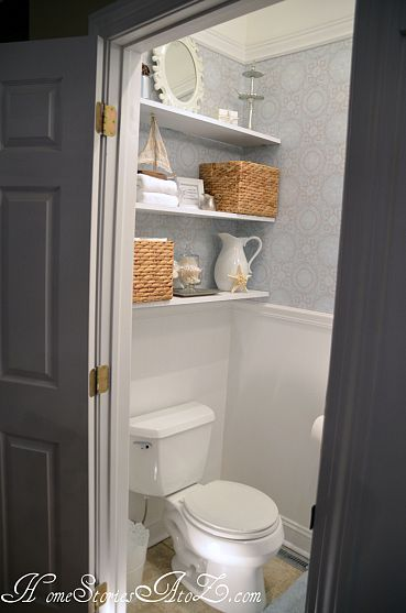 I like the idea of shallow shelves and baskets for storage above toilet in upstairs bathroom...