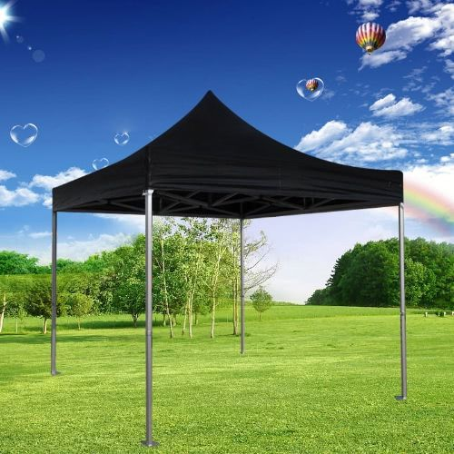 Folding Tent PLITECH STRONG Folding Marquee Gazebo 50mm Aluminium Structure Waterproof Tarpaulin in PVC 520g/m2 3x3m for Professional and Individual Needs for Regular or Intensive Use Black