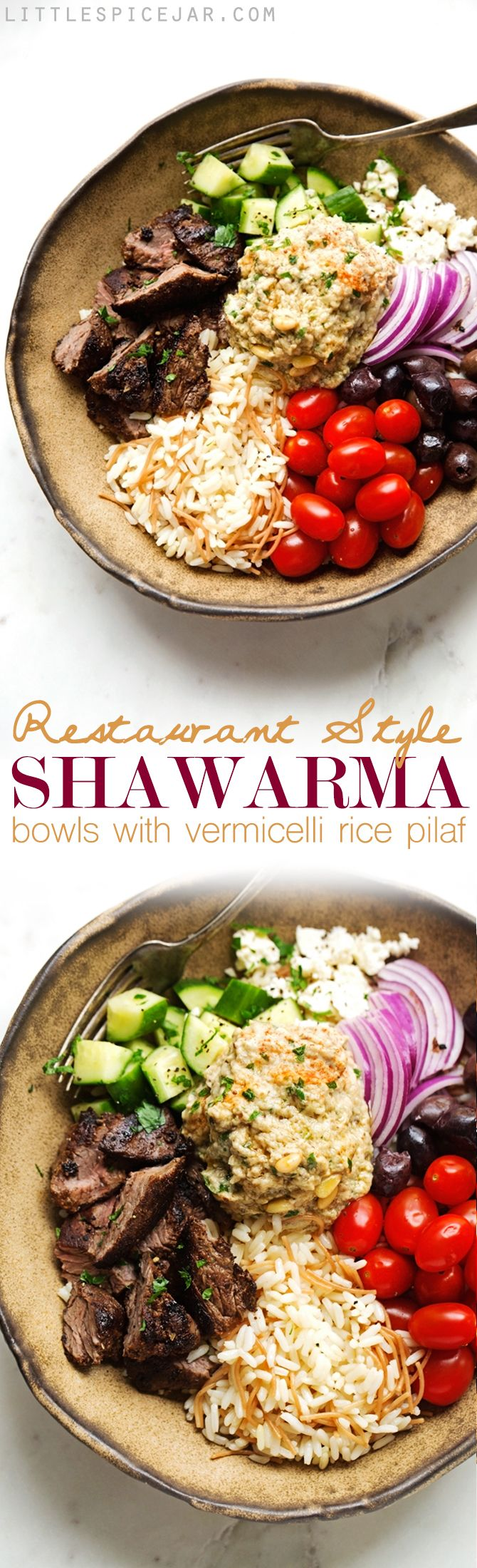 Beef Shawarma with Vermicelli Rice Pilaf - A simple shawarma plate just like your favorite restaurants, topped with tons of veggies! Perfect for lunches too! #shawarma #shawarmabowl #vermicellirice | Littlespicejar.com
