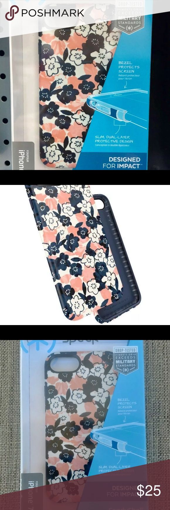 iPhone 7 Speck Case Fashion Flowers in Retail Box Still in retail package Authentic Speck Case for iPhone 7 this case meets and exceeds military standards when Drop- Tested, CandyShell Material, Dual layer design form uncompromising protection without the bulk. Perfect case fits in packet and protects your phone against everyday accidents. Speck Accessories Phone Cases