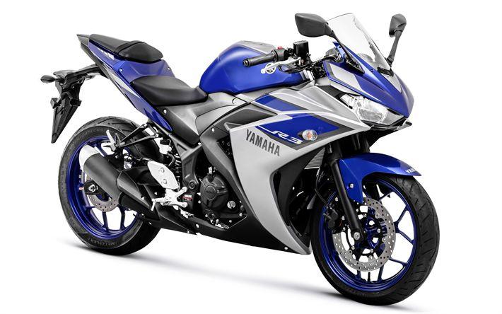 Download imagens A Yamaha YZF-R3, 2017, 4k, motocicleta esportiva, A Yamaha R3, Japonês motocicletas, Yamaha