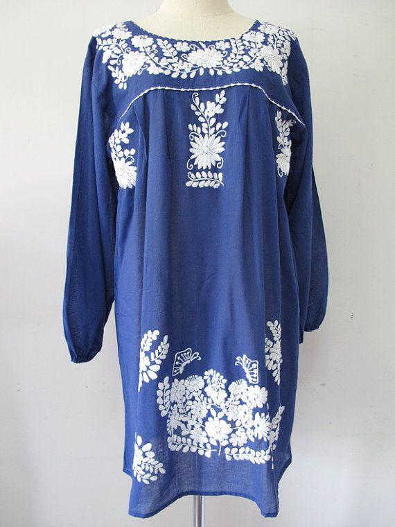 Tunique coton mexicain robe brodée en bleu robe Boho par chokethai