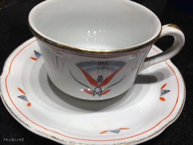 Egypt coffee cup & saucer, Arabia Finland, Tyra Lundgren 1920s