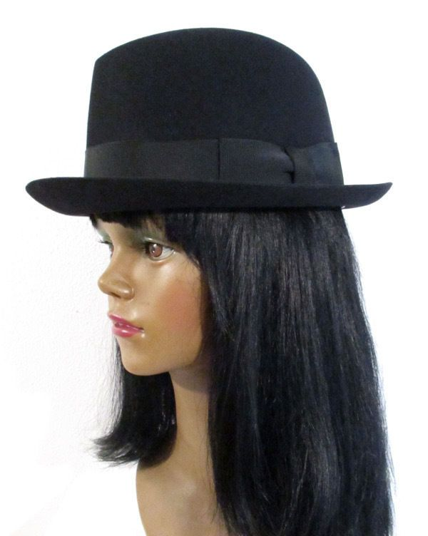 Authentic STETSON ROYAL DELUXE HAT Playboy II w/Box Black Fedora 40's 50's 7 1/8 #Stetson #Fedora #Everyday