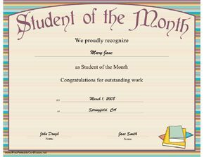 A striped printable certificate honoring the outstanding achievement of the student of the month. Free to download and print