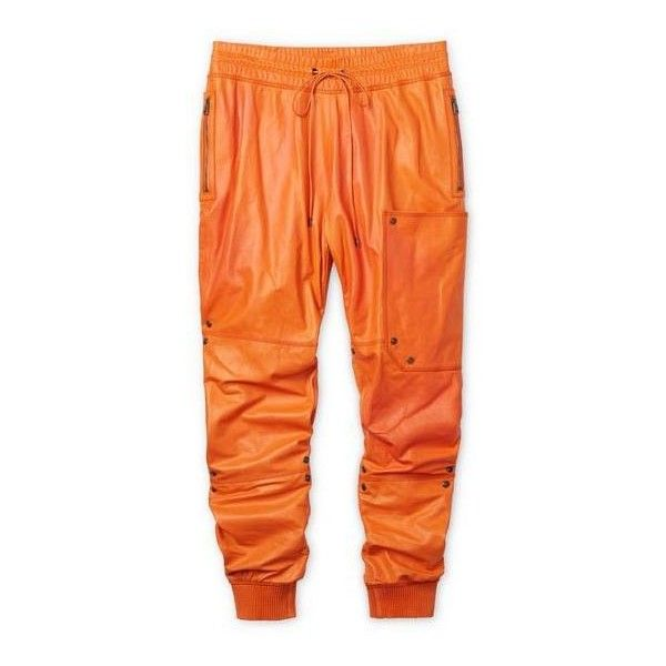 LEATHER JOGGING PANTS ($2,890) ❤ liked on Polyvore featuring pants, leather trousers, real leather pants, jogging trousers, orange pants and leather pants