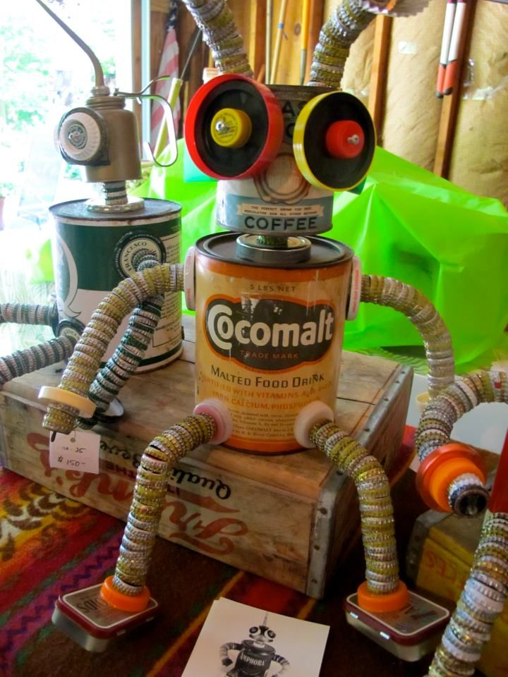 Robot with newer parts, including milk jug lids. (Beverly Kaye Gallery)