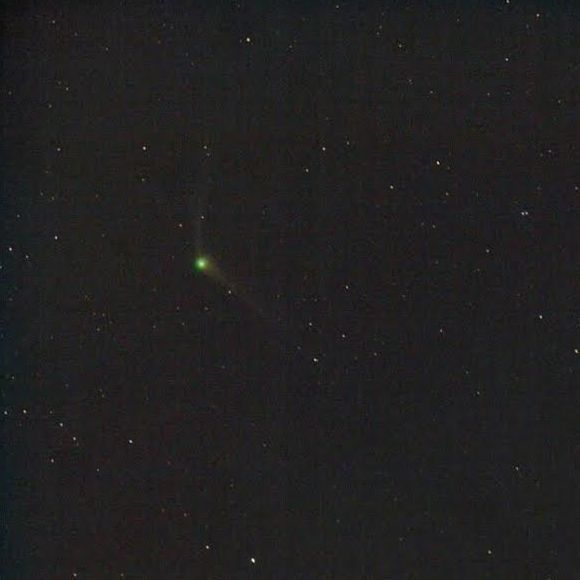 A comet of two tails. Comet Catalina is now showing up before dawn.  Once upon a time I used to actually get up in those ungodly hours to drag a telescope to go seeing. Nowadays my old joints and warm bed have convinced me not to. Thank goodness for youth. (Photo credit: November 22 capture of Comet C/2013 US10 (Catalina) by Chris Schur from Payson, Arizona. 90-second exposure.)