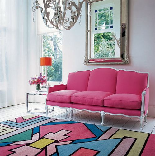 : Living Rooms, Design Bedroom, Pink Couch, Pink Sofas, Design Interiors, Interiors Design, Studios Couch, Matthew Williamson, Bold Colors